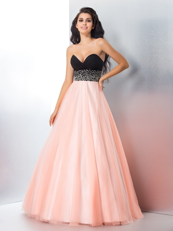 Ball Gown Pink Satin Floor-Length Dresses with Beading