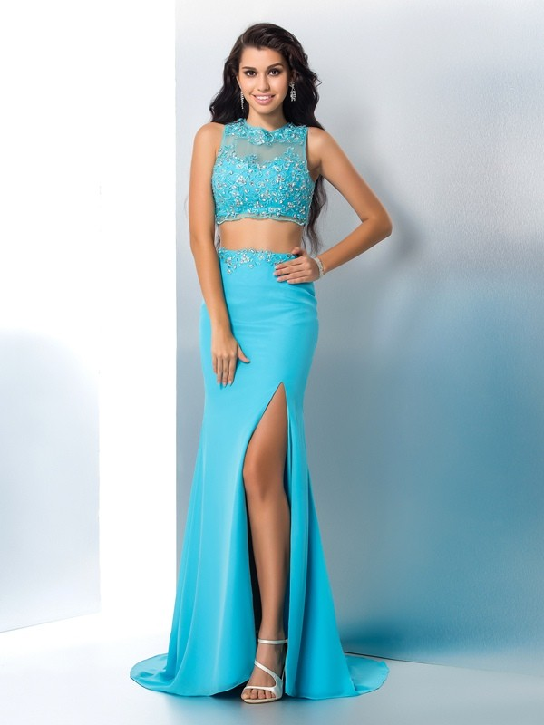 Trumpet/Mermaid Blue Chiffon Sweep/Brush Train Dresses with Beading