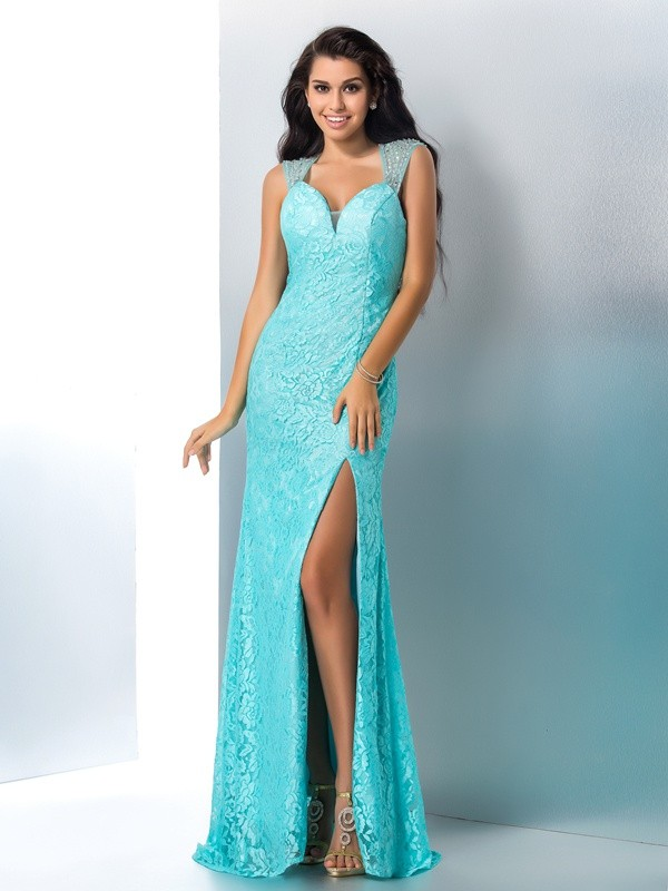 Trumpet/Mermaid Blue Lace Floor-Length Dresses with Beading