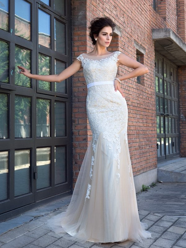 Trumpet/Mermaid Champagne Net Sweep/Brush Train Dresses with Applique