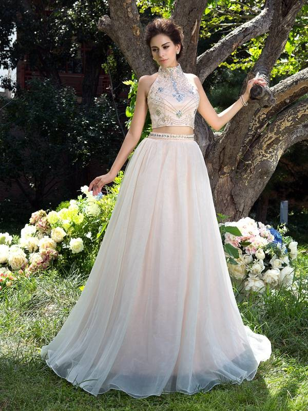 A-Line/Princess Champagne Net Sweep/Brush Train Dresses with Beading