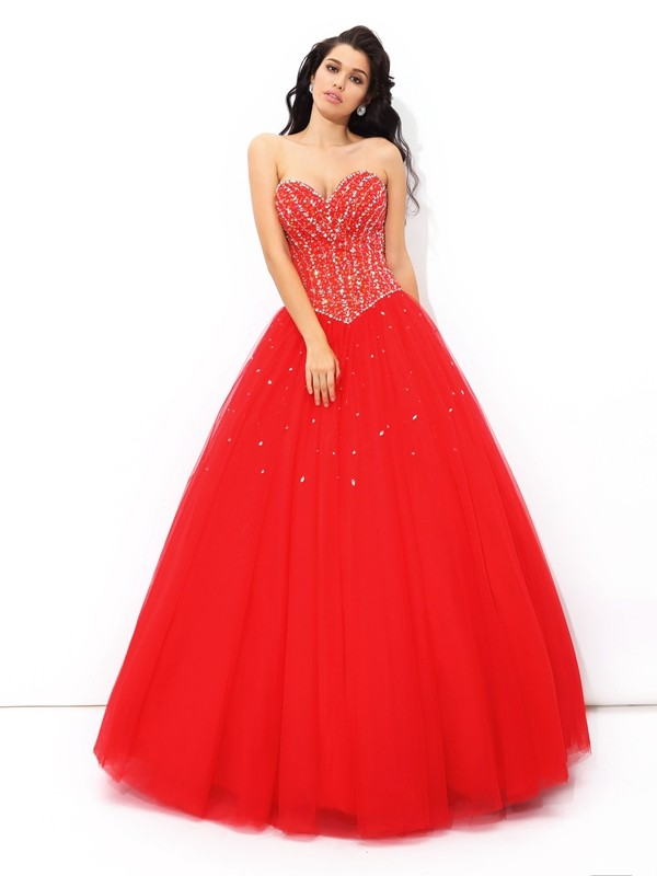 Ball Gown Red Net Floor-Length Dresses with Beading