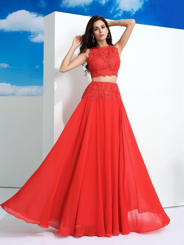 A-Line/Princess Red Chiffon Floor-Length Dresses with Lace