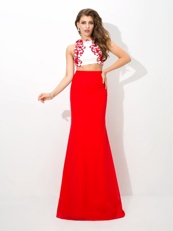 Sheath/Column Red Chiffon Floor-Length Dresses with Applique