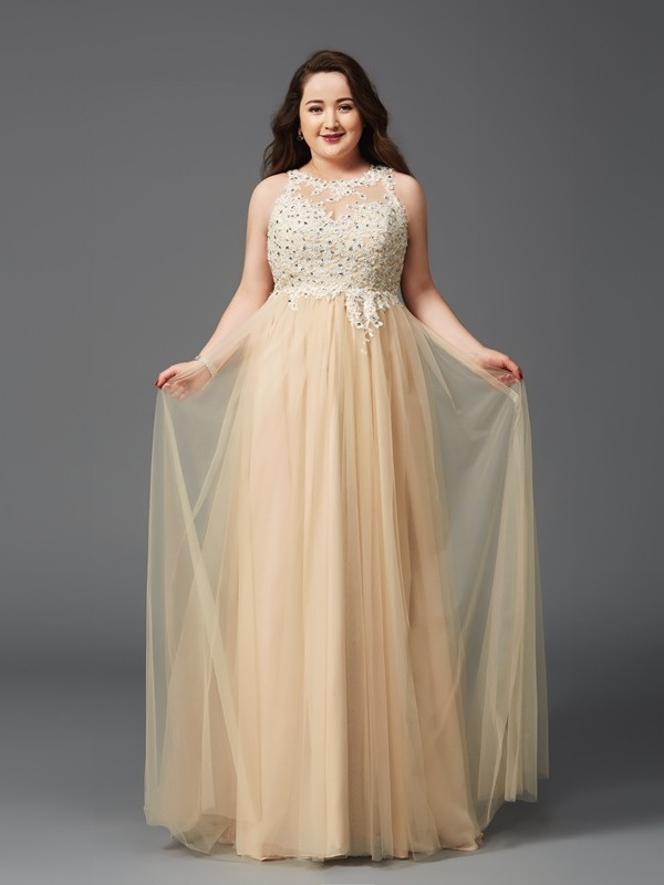 A-Line/Princess Champagne Net Floor-Length Dresses with Rhinestone