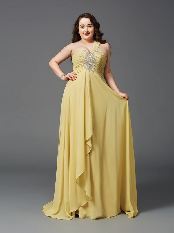 A-Line/Princess Daffodil Chiffon Sweep/Brush Train Dresses with Rhinestone