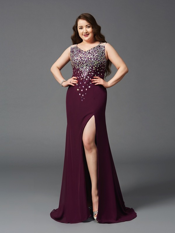 Sheath/Column Burgundy Chiffon Sweep/Brush Train Dresses with Rhinestone