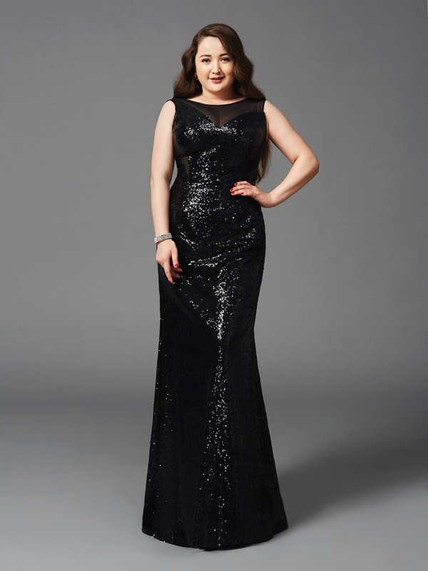 Sheath/Column Black Sequins Floor-Length Dresses with Other