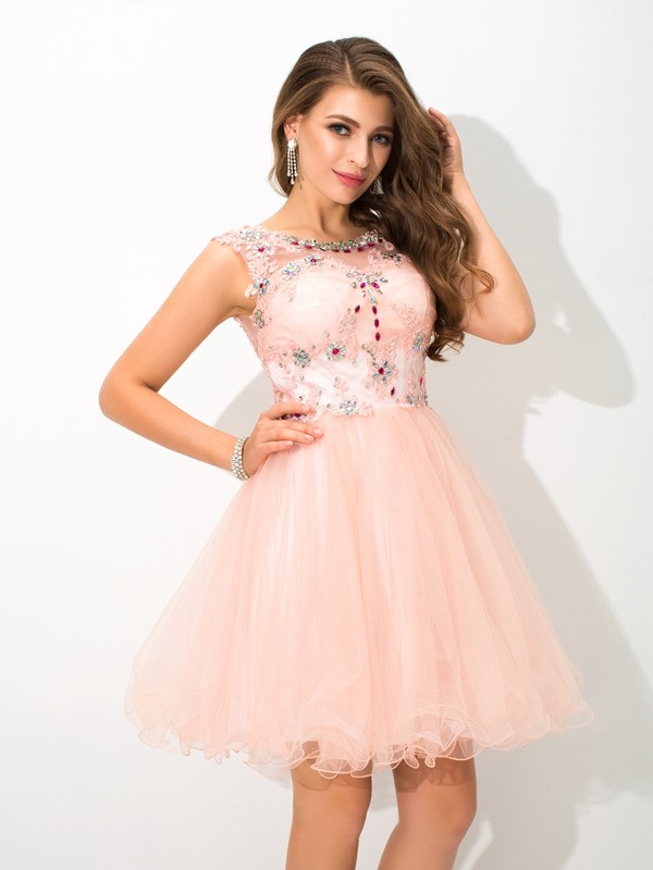 A-Line/Princess Pearl Pink Elastic Woven Satin Short/Mini Homecoming Dresses with Beading