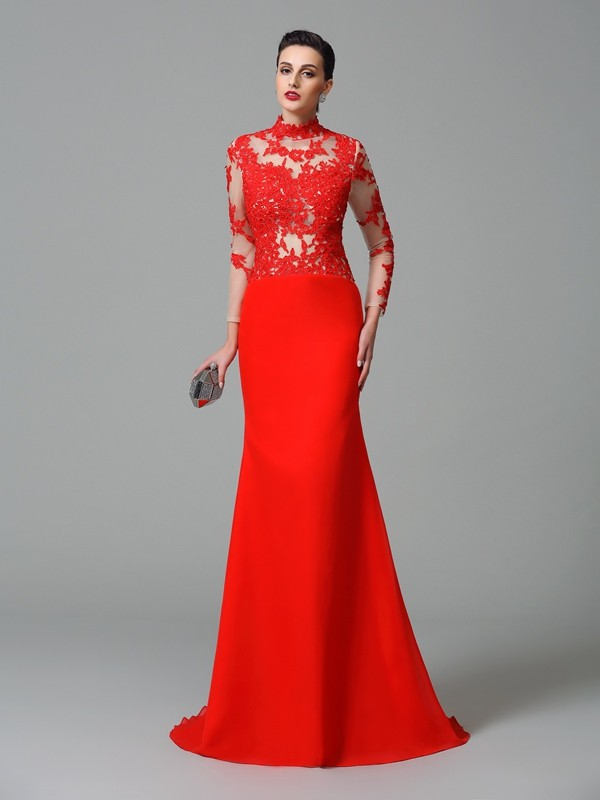 Trumpet/Mermaid Red Chiffon Sweep/Brush Train Evening Dresses with Applique