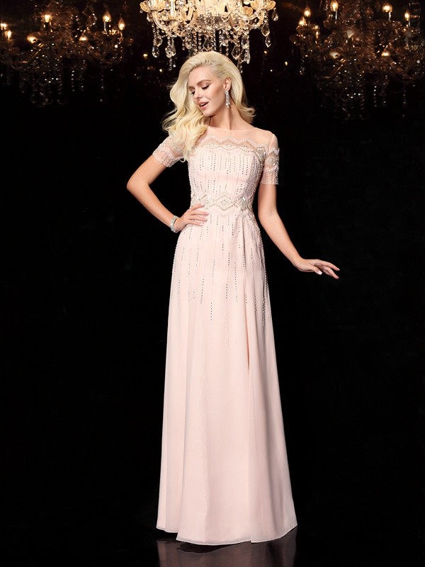 A-Line/Princess Pearl Pink Chiffon Floor-Length Evening Dresses with Beading