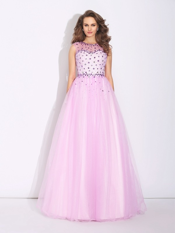 A-Line/Princess Pearl Pink Net Floor-Length Evening Dresses with Rhinestone