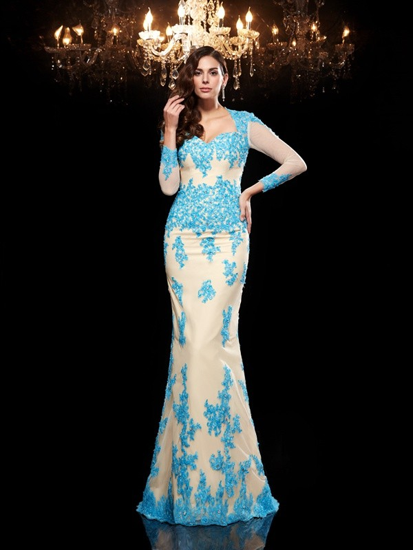 Trumpet/Mermaid Blue Net Sweep/Brush Train Evening Dresses with Applique