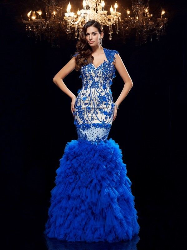 Trumpet/Mermaid Royal Blue Net Floor-Length Evening Dresses with Applique