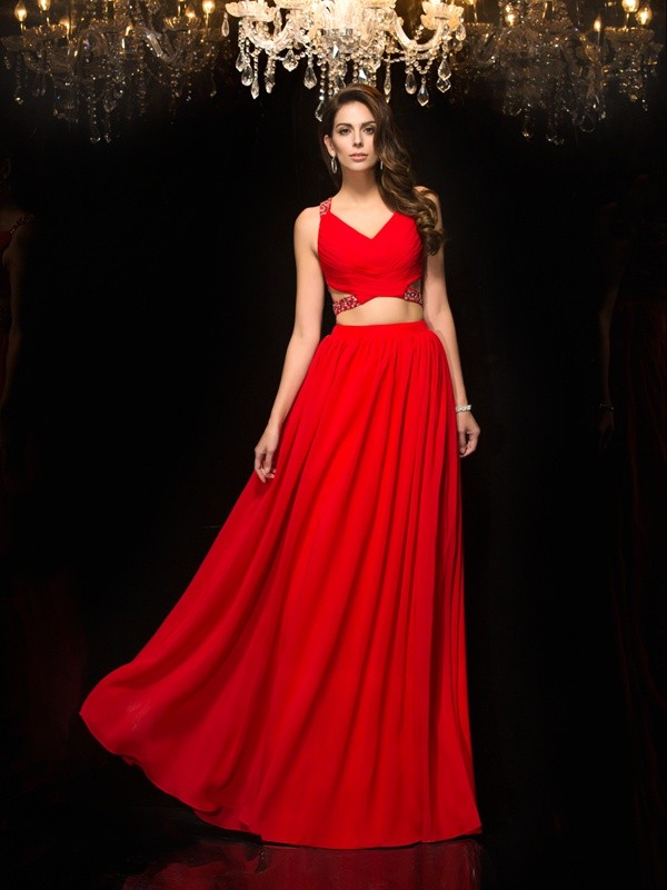 A-Line/Princess Red Chiffon Floor-Length Evening Dresses with Beading