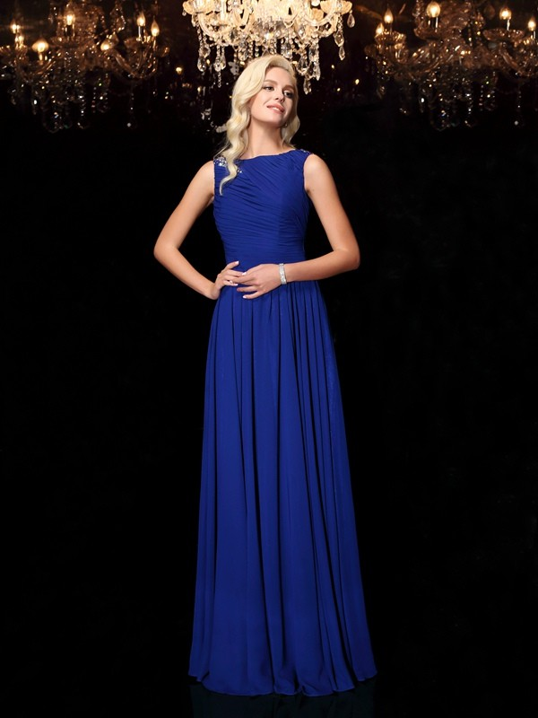 A-Line/Princess Royal Blue Chiffon Floor-Length Evening Dresses with Rhinestone