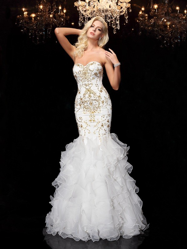 Trumpet/Mermaid White Organza Floor-Length Evening Dresses with Beading