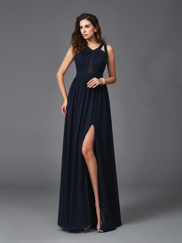A-Line/Princess Dark Navy Chiffon Floor-Length Dresses with Other