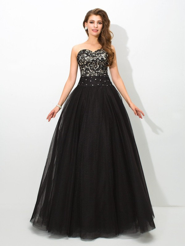 Ball Gown Black Net Floor-Length Dresses with Lace