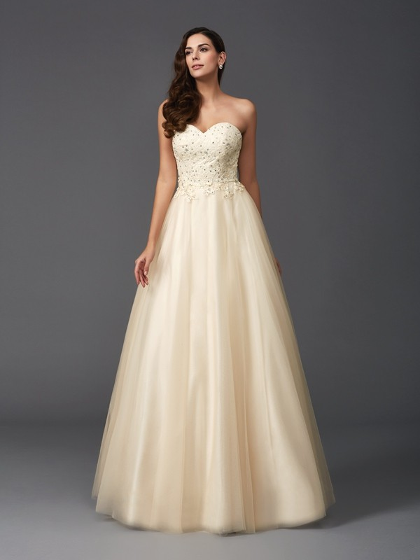 A-Line/Princess Champagne Net Floor-Length Dresses with Beading