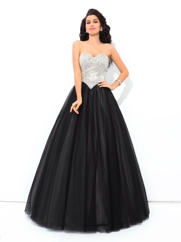 Ball Gown Black Net Floor-Length Dresses with Paillette
