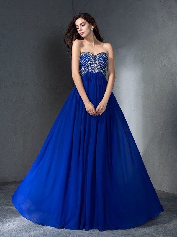 A-Line/Princess Royal Blue Chiffon Sweep/Brush Train Dresses with Beading