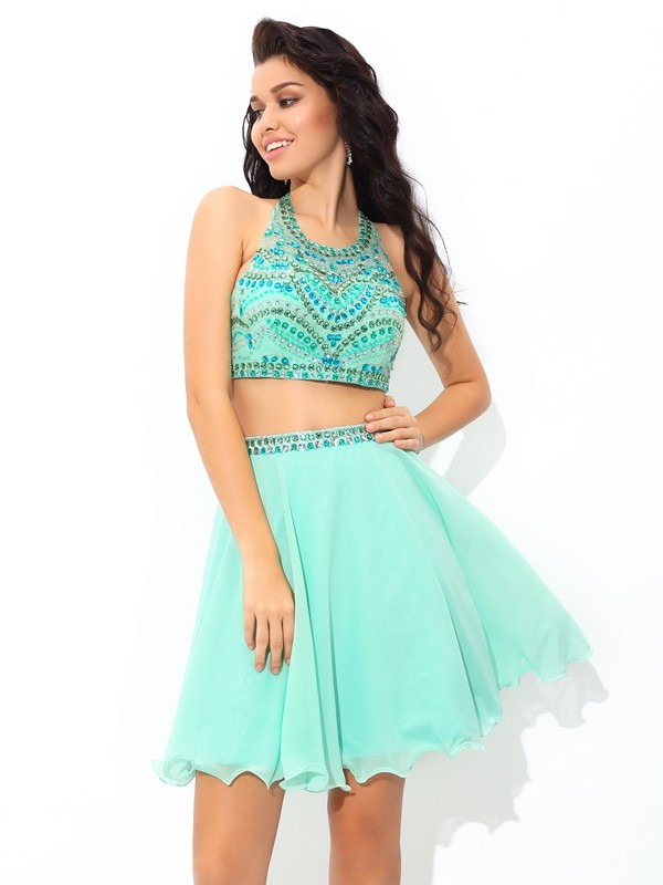 A-Line/Princess Blue Chiffon Short/Mini Homecoming Dresses with Rhinestone