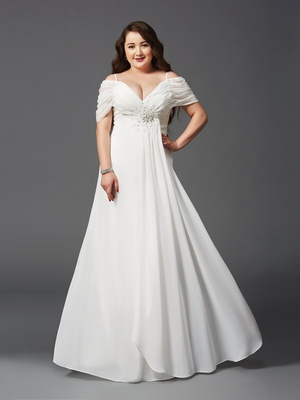 A-Line/Princess Ivory Chiffon Floor-Length Dresses with Ruched