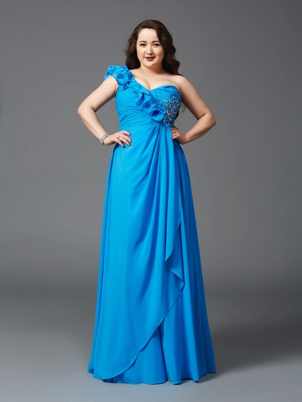 A-Line/Princess Royal Blue Chiffon Floor-Length Dresses with Rhinestone