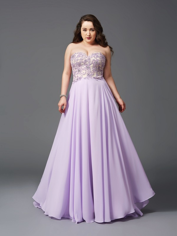 A-Line/Princess Lilac Chiffon Sweep/Brush Train Dresses with Lace