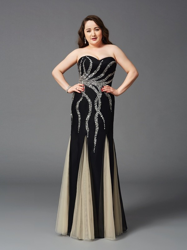 Sheath/Column Black Chiffon Floor-Length Dresses with Beading