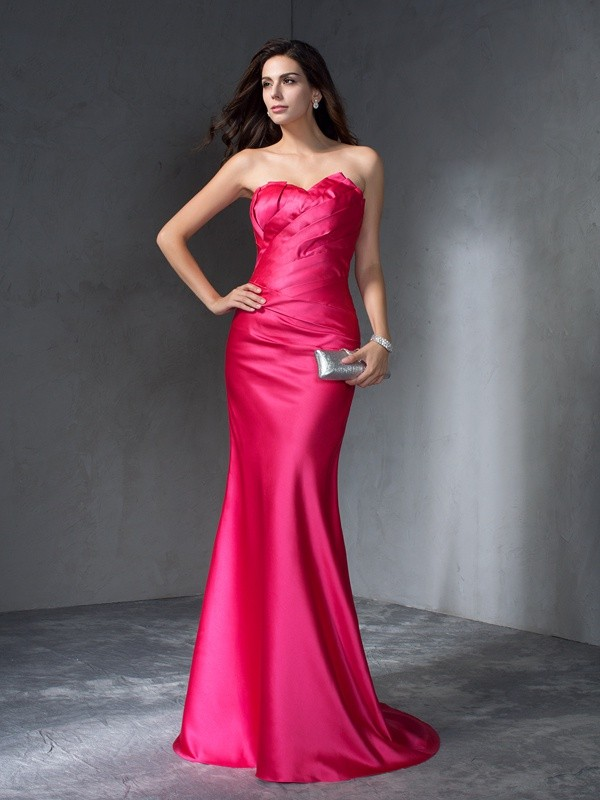 Trumpet/Mermaid Fuchsia Satin Sweep/Brush Train Evening Dresses with Other