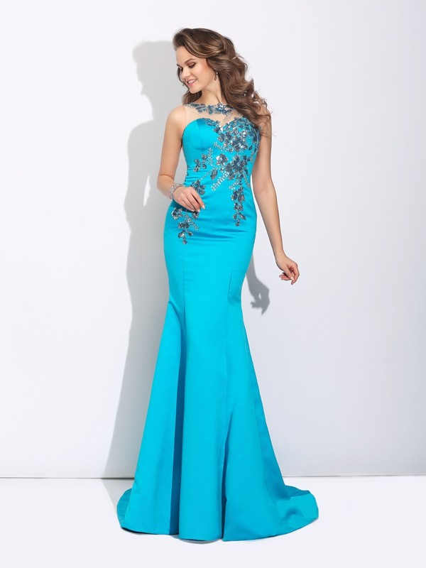 Trumpet/Mermaid Blue Satin Sweep/Brush Train Evening Dresses with Applique