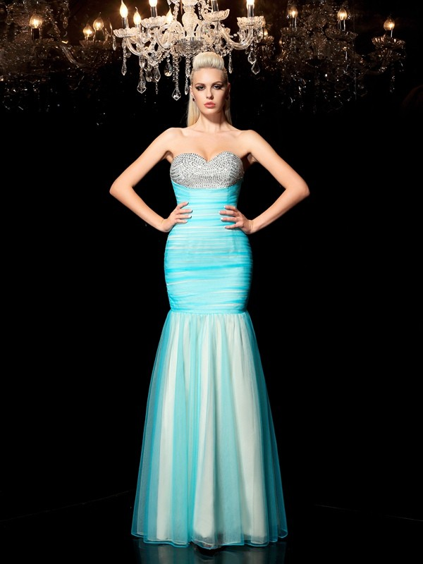 Sheath/Column Blue Net Floor-Length Dresses with Sequin