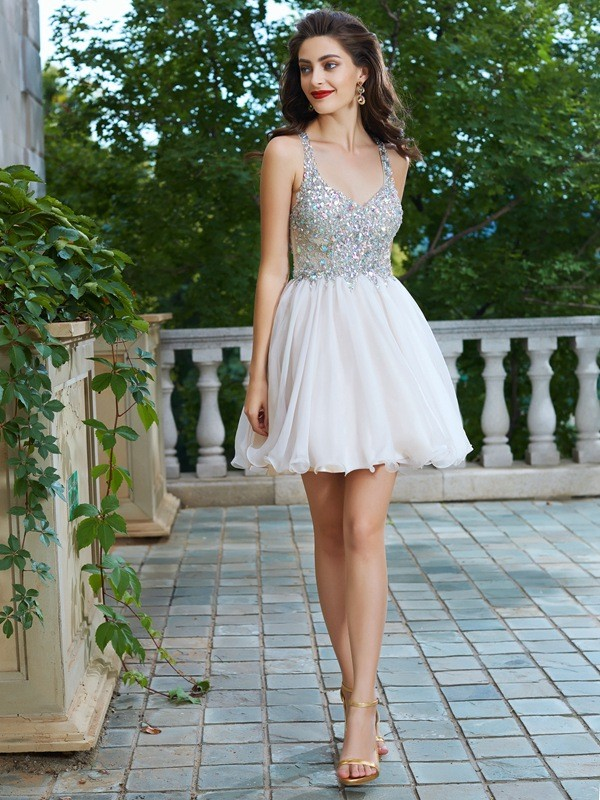 A-Line/Princess Champagne Chiffon Short/Mini Homecoming Dresses with Rhinestone