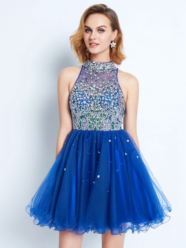 A-Line/Princess Royal Blue Net Short/Mini Homecoming Dresses with Ruffles