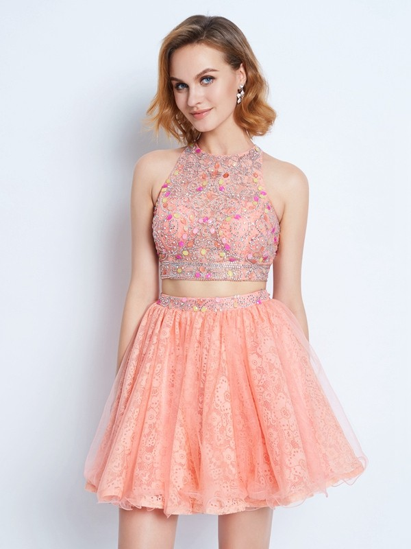 A-Line/Princess Pink Lace Short/Mini Homecoming Dresses with Lace