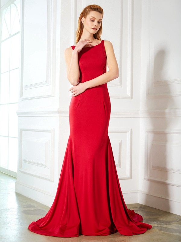 Trumpet/Mermaid Red Spandex Sweep/Brush Train Dresses with Ruffles