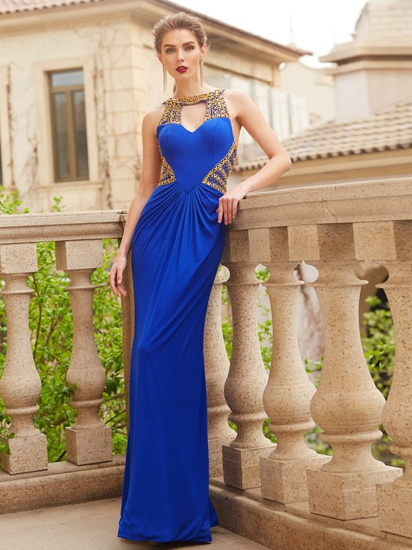 Sheath/Column Royal Blue Spandex Floor-Length Dresses with Beading