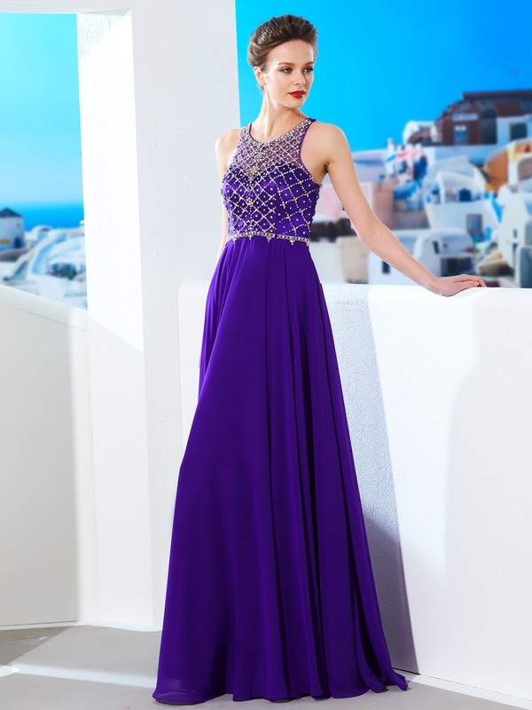 A-Line/Princess Regency Chiffon Floor-Length Dresses with Crystal