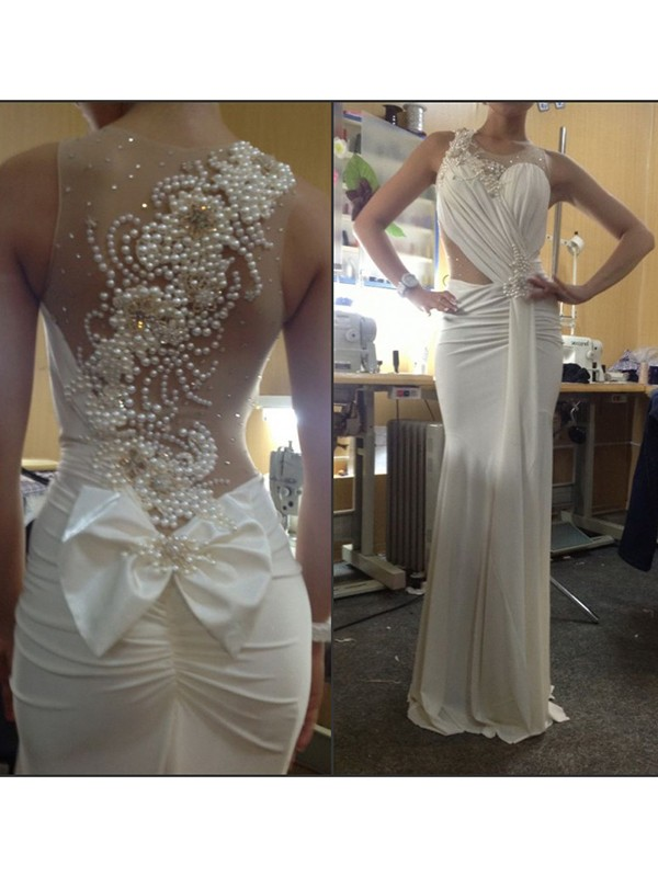 Trumpet/Mermaid White Chiffon Sweep/Brush Train Dresses