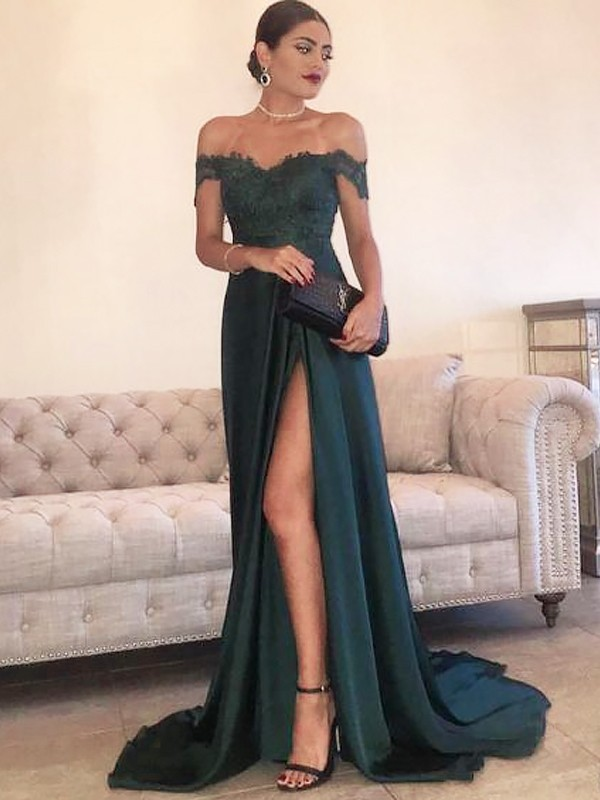 A-Line/Princess Off-the-Shoulder Sleeveless Sweep/Brush Train Lace Satin Dresses