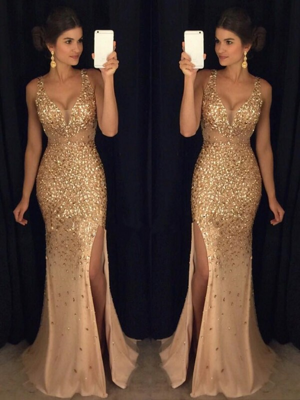 Sheath/Column Champagne Jersey Court Train Dresses with Sequin