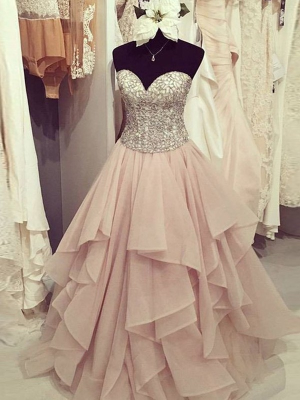 Ball Gown Pink Chiffon Floor-Length Dresses with Beading