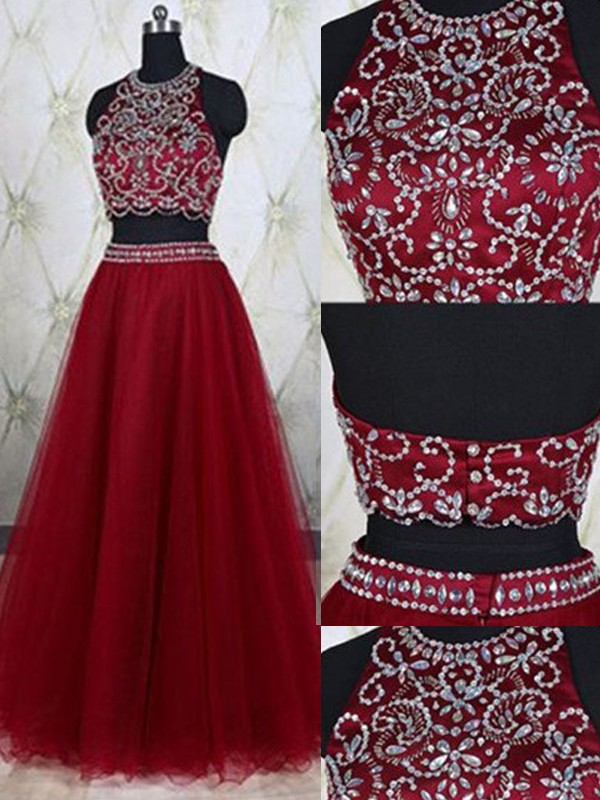 A-Line/Princess Red Tulle Floor-Length Dresses with Beading