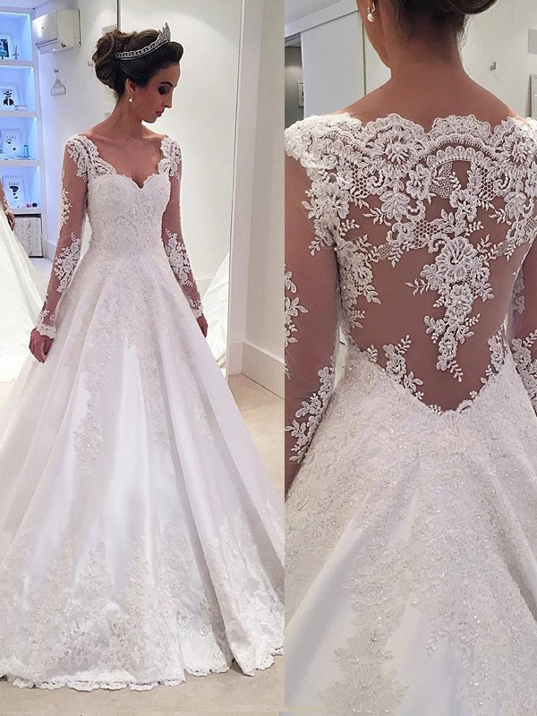 Ball Gown Ivory Satin Court Train Wedding Dresses with Lace