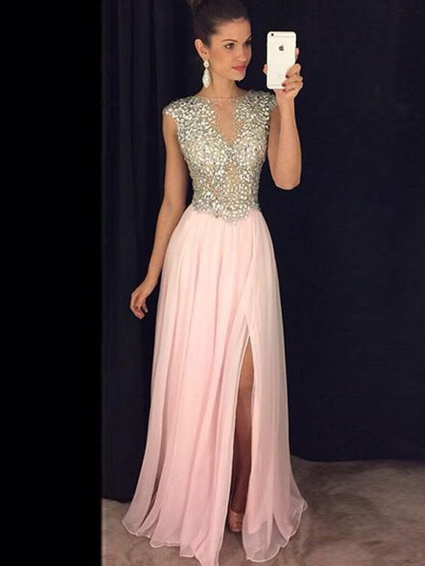A-Line/Princess Pink Chiffon Floor-Length Dresses with Sequin