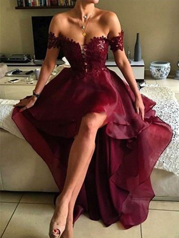 A-Line/Princess Burgundy Organza Asymmetrical Dresses with Applique