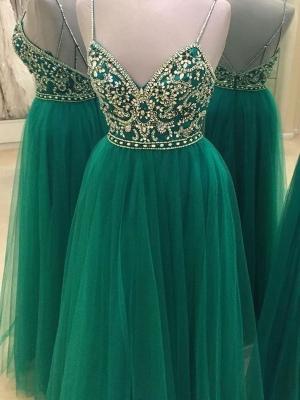 A-Line/Princess Green Tulle Floor-Length Dresses with Beading