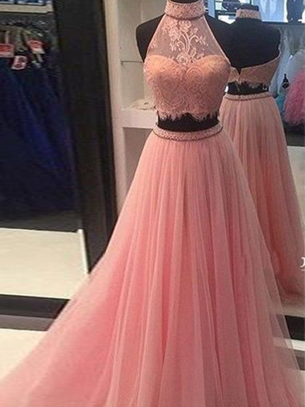 A-Line/Princess Pink Tulle Floor-Length Dresses with Lace